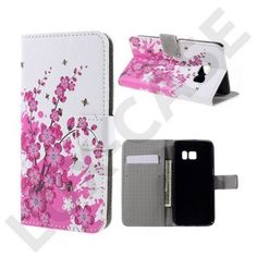 Moberg Læder-etui med kortholder og indbygget stander til Samsung Galaxy S7 - Blommetræ i blomst