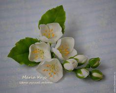 Купить Веточка жасмина - белый, жасмин, цветы ручной работы, цветы из полимерной глины