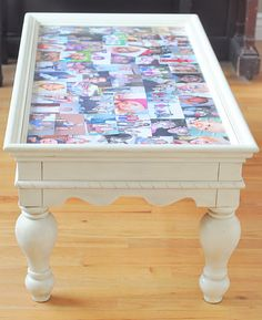 want to do this to my black coffee table...except black & white photos
