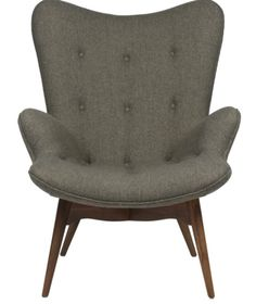 The Matt Blatt Replica Grant Featherston Contour Lounge Chair - Walnut/Light Tweed Grey