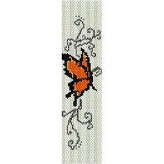 Orange Butterfly beading cuff bracelet pattern for peyote and loom