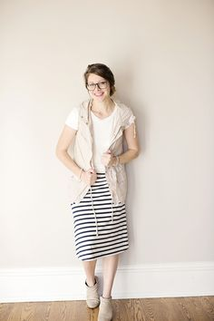 Navy Striped A-line Knee Length Skirt