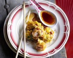 Boiled prawn wontons with chilli dressing - Jamie Oliver Just Cooking, Thai Cooking, Cooking Ideas, Asian Recipes, Ethnic Recipes, Jamie Oliver, Dressing Recipe, Fish And Seafood, Cooking