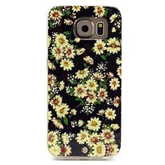 Shensee For Samsung Galaxy S6 Edge Retro Vintage Floral Rubber Soft TPU Case Cover (yellow)