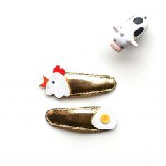 hello shiso chicken + egg hair clips