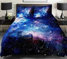 Galaxy Quilt Cover Galaxy Duvet Cover Galaxy Sheets Space Sheets Outer Space Bedding Set Bedspread with 2 Matching Pillow Covers(Full)