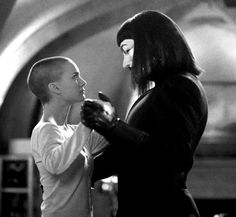 V (Hugo Weaving) is tall and Evey (Natalie Portman) is (from V for Vendetta) V For Vendetta Evey, V For Vendetta 2005, V For Vendetta Movie, V Pour Vendetta, Natalie Portman, V For Vendetta Wallpapers, Movies Showing, Movies And Tv Shows, Hugo Weaving