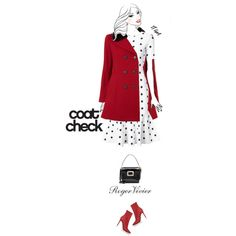 Casual outfit: Red - White    #casualwear  #polkadot  #furcollar  #ShoulderBag  #ankleboots  #Milly  #Loveless  #RogerVivier  #statementcoats