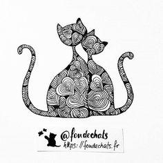Cat Art 214  Deux petits chamoureux  . Bonne soirée les amis  ! . # #1jour1chat #catart #chats #foudechats #tw #fb http://ift.tt/2DmuTaw