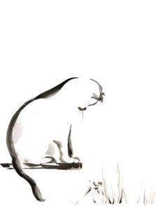 Chat minimaliste aquarelle peinture Art Print par CanotStopPrints