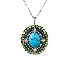 Cathy Waterman - Turquoise Diamond, Topaz and Tourmaline Peacock Pendant in Designers Cathy Waterman One-of-a-Kind at TWISTonline