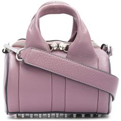 Alexander Wang Rockie tote (€675) ❤ liked on Polyvore featuring bags, handbags, tote bags, leather handbag tote, leather tote handbags, purple tote bags, purple leather handbags and purple purse
