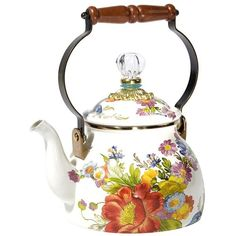 MacKenzie-Childs Flower Market Enamel Tea Kettle - White - Small ($140) ❤ liked on Polyvore featuring home, kitchen & dining, cookware, multi, enamel kettle, white enamel cookware, white enamel tea kettle, enamel cookware and mackenzie childs tea kettle