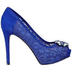GUESS Hot Spot Lace Pumps ($100) ❤ liked on Polyvore featuring shoes, pumps, heels, dark blue fabric, peep toe platform pumps, peeptoe pumps, slip on shoes, metallic pumps and lace peep toe pumps
