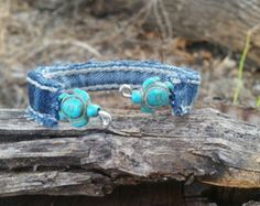 Upcycled Denim Bracelet with White Flower and Blue by DenimReDooz