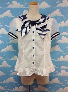 Sherbet Marine Blouse in White from Angelic Pretty - Lolita Desu