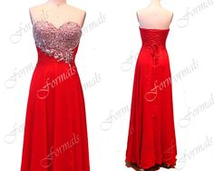 Red Prom Dresses, 2014 Prom Gown, Strapless Sweetheart with Crystal Chiffon Red Long Prom Dresses, Red Evening Gown,Formal Gown on Etsy, $159.00