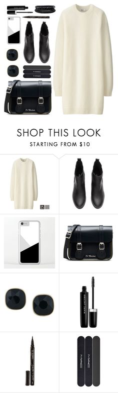 OOTD - White Sweater Dress by by-jwp on Polyvore featuring Uniqlo, Dr. Martens, Spring Street, ABS by Allen Schwartz, Marc Jacobs, Smith & Cult and MAC Cosmetics
