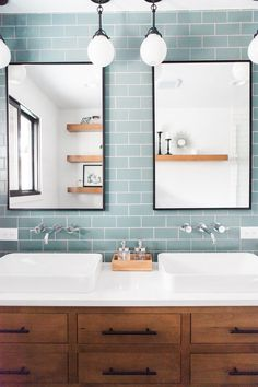 PROJECT REVEAL: Check out how we took the Mid Century Main House Guest Bath from dark and dated to spacious + stylish! Bad Inspiration, Bathroom Inspiration, Upstairs Bathrooms, Small Bathroom, Teal Bathrooms, Glass Tile Bathroom, Mid Century Modern Bathroom, Midcentury Bathroom Mirrors, Bath Remodel