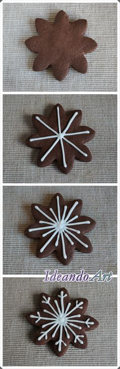 Tutorial decoración galletas de chocolate copo de nieve con glasa by IdeandoArt