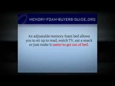 http://memory-foam-buyers-guide.org/adjustable-memory-foam-bed.html  Adjustable Memory Foam Bed - If you're looking for a memory foam bed that is adjustable, then check out this video.