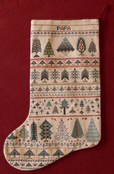 palace of leaves three cross stitched christmas stockings - Cross Stitch Christmas Stockings