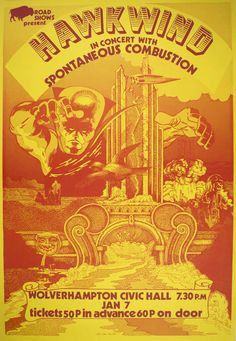 Poster announcing Hawkwind in concert at Wolverhampton Civic Hall, January 7, 1972