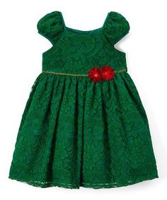 Perfect Christmas Dress #zulily! Green Floral Lace Dress & Bloomers - Infant, Toddler & Girls #zulilyfinds