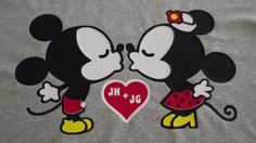 Kissing Mickey Mouse and Minnie Mouse Disney T-shirt - Etsy $19.00.