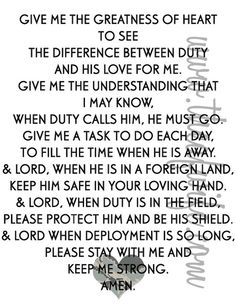 For my daughter who's husband is in the Army and to all of her military friends.  God bless our soldiers and their spouses.