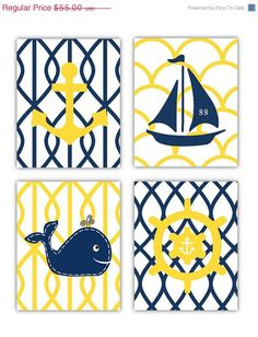 SALE Yellow and Navy Nautical Nursery Wall Art 4 by LittlePergola