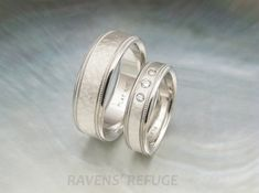 platinum his and hers wedding bands with milgrain by RavensRefuge Platinum Wedding Rings, Platinum Jewelry, Unique Wedding Bands, Engagement Wedding Ring Sets, Platinum Ring, Mens Ring Sizes, Bling Wedding, Matching Rings, Rings For Men