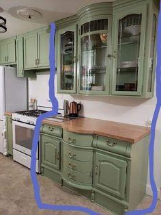 China hutch turned into kitchen cabinets Refurbished Furniture, Repurposed Furniture, Furniture Makeover, Refurbished Hutch, Kitchen Redo, New Kitchen, Kitchen Remodel, 10x10 Kitchen, Kitchen Ideas