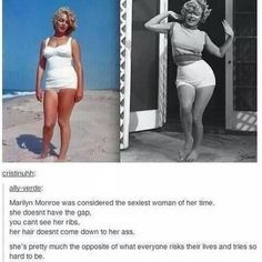 And she doesn't have the flat belly. She has a normal, round belly which today most would comment on fat