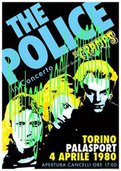 POLICE - CRAMPS - 2 Aprile 1980 Palalido Torino Italia - manifesto artistico concerto