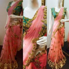 Zardosi Work Peach Saree Zardosi Work Peach Saree<br> Exclusive Collection of Indian Celebrity Sarees and Designer Blouses Fancy Sarees Party Wear, Saree Designs Party Wear, Party Sarees, Wedding Sarees, Half Saree Designs, Saree Blouse Designs, Blouse Patterns, Dress Designs, Trendy Sarees