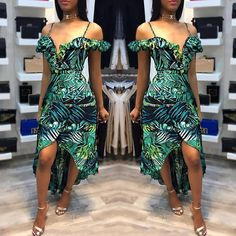 Stylish Open Shoulder High-low Hem Maxi Wrap Dress