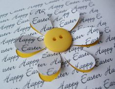 Easter Card - Button Flower - Paper Cut Flower - Handmade Greeting Card - Personalised Easter Card    This handmade card makes a pretty and unique