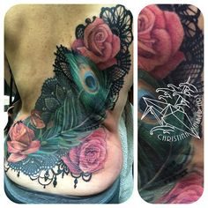 Peacock Feather Rose Lace Back Tattoo