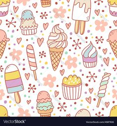 Yummy ice cream seamless pattern Vector Image by stolenpencil