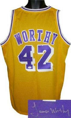 b39824685 James Worthy signed Los Angeles Lakers Yellow Prostyle Jersey- JSA Hologram  .  290.70. James Worthy was named as one of the 50 Greatest Players in NBA  ...