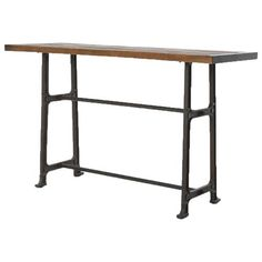 Pull up a chair and pour your guests a pint as they settle in at this stylish, Industrial Loft pub table. Natural, vintage grey iron lends weight to the long legs of this versatile piece. We love the bleached oak tabletop as a cocktail bar or breakfast counter.