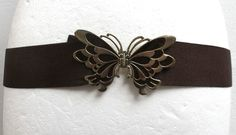 Vintage 1980s Women s Brown Elasticated Belt Gold Butterfly Clasp Size 6-8 26