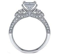Engagement Ring - Three Stone Princess Diamond Engagement ring vintage pave  - ES904PRWG