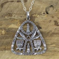 Sterling silver pendant necklace, 'Maguey Goddess' - Handmade Oxidized Silver Necklace with Pre-Hispanic Themes