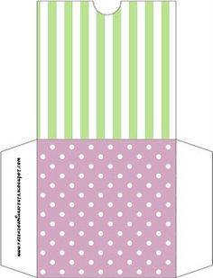 Verde Listrado e Lilás Poá – Kit Completo com molduras para convites, rótulos para guloseimas, lembrancinhas e imagens! |Fazendo a Nossa Festa