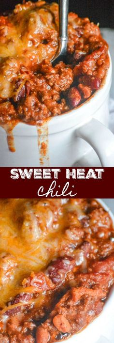 A hearty dish that beautifully blends savory spices with sweet flavor notes this Sweet Heat Chili is a quick easy Winter meal by the bowlful One pot is all you need maki. Chilli Recipes, Crockpot Recipes, Soup Recipes, Cooking Recipes, Recipies, Chili Cook Off, Chili Chili, Chili Bar, Winter Food
