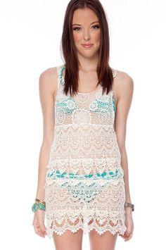 Crochet It On Tank Dress in Cream $34 at www.tobi.com