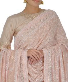 Nude Pink Chikankari Dupatta With Gota Patti Top And Tissue Skirt