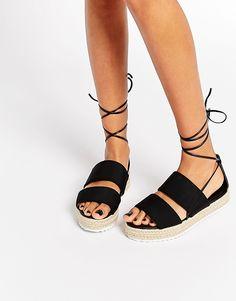 Image 1 of ASOS JEOPARDY Tie Leg Espadrille Sandals